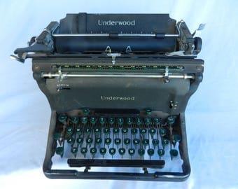 Underwood Typewriter with Green Keys, Non-Working Underwood Typewriter, Vintage Typewriter, Office Machine