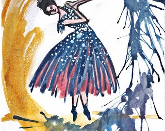 Water Color Ballerina painting print
