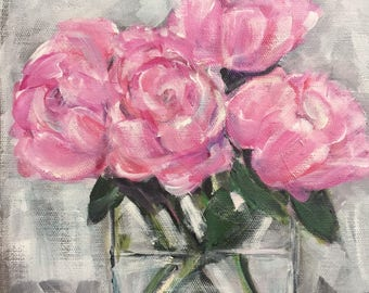 "Original Painting ""Pretty Peonies"",  on linen board 9 x 12 ***Free Shipping!***"