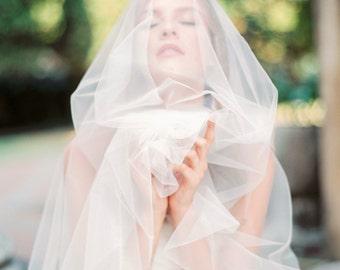 Italian soft tulle circle fingertip wedding veil with blusher, ivory wedding veil, blusher veil, drop veil, Style V39