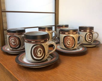 Set of 6 Midcentury Briglin Pottery Coffee Cups & Saucers