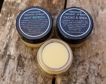 Natural Organic Lip Balm - Cacao & Shea or Mint Refresh