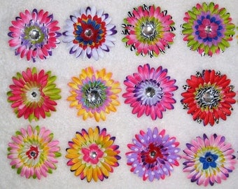 Multicolour chrysanthemum hair clips for girls-buy 10 get two for free!
