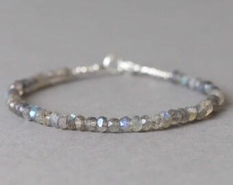 Labradorite Bracelet Gemstone Bracelet Beaded Bracelet Stacking Bracelet