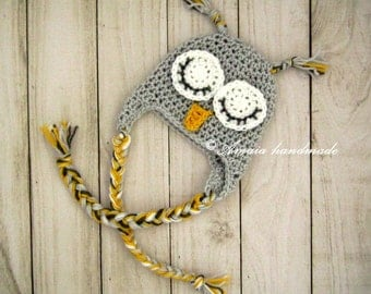 Baby owl hat - Infant Crochet Hat for Newborn to 12 Months, Great as an Owl Baby Shower Gift!