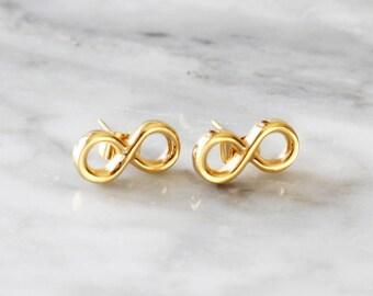 E1037 - New Gold / Rose Gold Infinity Studs Earrings