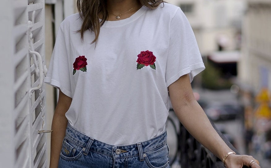 Rose tits tee embroidered roses white t shirt