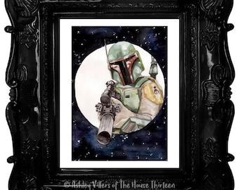 "Bounty Hunter Print - 8x10"" Boba Fett, Star Wars Watercolor Reproduction"