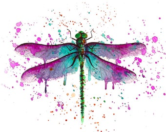 For Helen DRAGONFLY watercolour painting illustration original watercolor