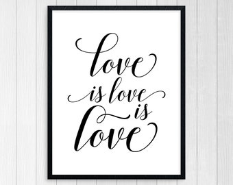 Printable Art, Love Is Love Is Love, Wall Art, Inspirational Quote, Motivational Quote, Typography Art, Home Wall Art, Inspirational Poster