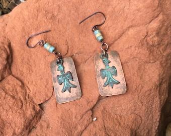 Native American Thunderbird on copper earrings EA100