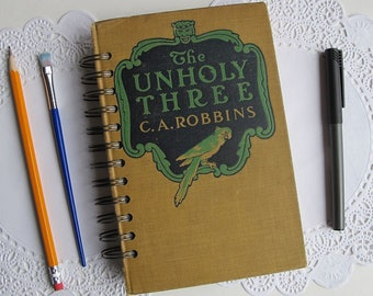 altered book junk journal, The Unholy Three, spiral bound smash book