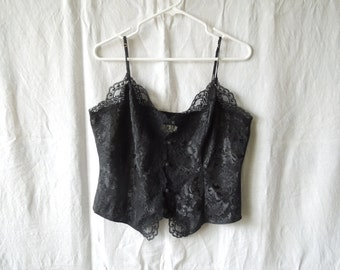 80s Victoria's Secret Button Down Silky Lace Top