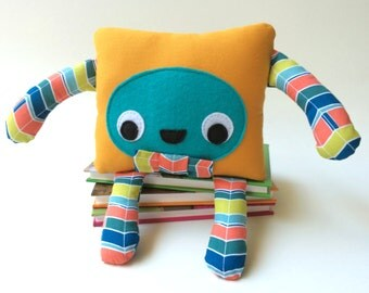 Handmade Monster Plushie, Monster Soft Toy, Friendly Felt Cuddly Toy