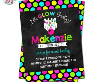 Bowling Party Invitation, Bowling Invitation, Bowling Birthday Invitation, Editable Bowling Invitation, Neon Bowling, Glow Bowling