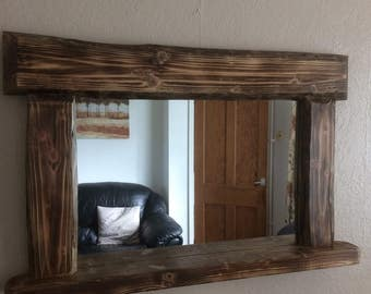Chunky driftwood mirror with shelf 90 x 60 cms