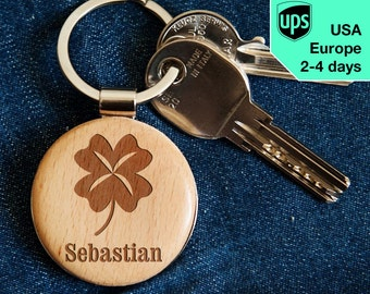 Clover - key chain, personalized laser engraved wooden key chain