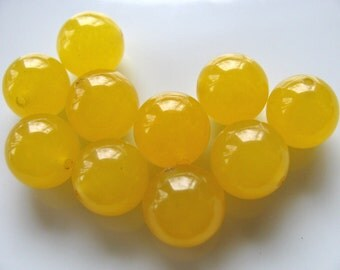 Jade beads, Golden Jade, 10 beads, 10mm, translucent beads, Jewelry supply  B-1033