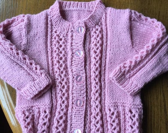 Hand knitted girl's cardigan to fit 3-6 months