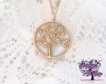 Solid 14KT Gold Tree of Life Breast Milk Pendant from Indigo Willow-- Breast Milk Jewelry