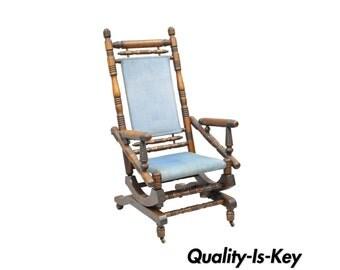 ... Eastlake Victorian Turned Walnut Blue Platform Rocking Chair Rocker A
