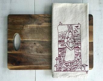 Flour Sack Towel (Unbleached) - Bilibin Girl - Hand Screen Printed