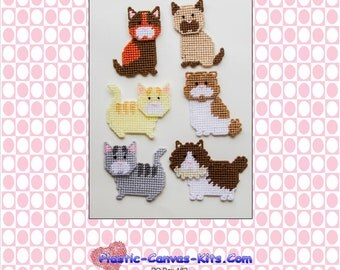 Kitty Cat Magnets-Plastic Canvas Pattern-PDF Download