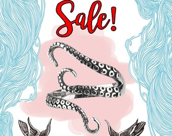 2 for 1 NOW! Kraken Octopus Sea Monster Squid Punk Animal Adjustable Pirates of Caribbean Ring by JerBrill.