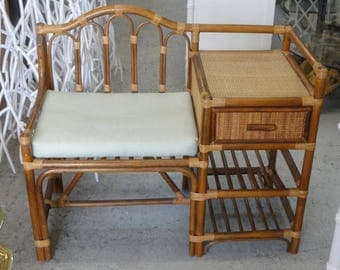 Rattan Wrapped Telephone Table Bench Palm Beach Regency