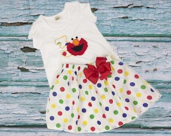 Elmo  birthday outfit,  Polka dots skirt, Elmo shirt,  Elmo birthday,  Elmo outfit, Disney outfit, Elmo age name, Skirt shirt Birthday.