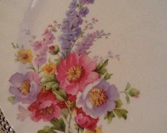 "Vintage, Knowles, 7 KNO610, 9.5"" scalloped dishes, Floral Bouquet, Rose, Delphinium, semi vitreous, blue, lavender, pink"