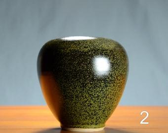 Black Gold Ceramic Vase, Hand Thrown Porcelain Pottery, Bathroom Storage, Centerpiece, Unique Gift Mom, Flower, Vessel | Caldwell Pottery