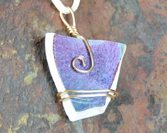 Purple Mixed Media Necklace - Pendant - Choker - Gold Wire Wrapped - Handmade Jewelry - Pottery - Upcycled - Mom Gift | Caldwell Pottery