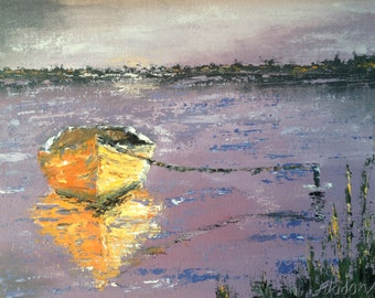 Yellow boat on a pond, canoe on a lake art, home decor palette knife thick impasto FREE SHIPPING