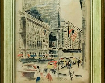 John Haymson Lever House New York City Watercolor Print Framed