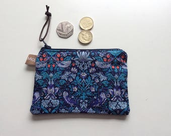 Liberty fabric coin purse, pouch, waxed cotton, small purse, stocking filler, purse, coins