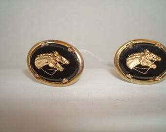 Vintage double horse head cuff links