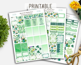 SALE 50% OFF Erin Condren Stickers//March Stickers//Spring Planner Stickers//St.Patrick's Planner Kit//StickersVertical Weekly Kit/Printable
