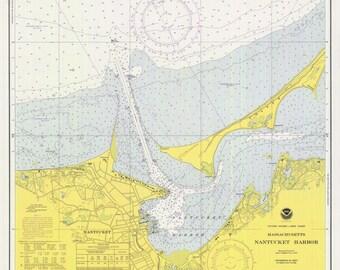 Nantucket Harbor Map 1975