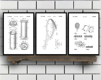 Tennis Patents Set of 3 Prints, Tennis Prints, Tennis Posters, Tennis Blueprints, Tennis Art, Tennis Wall Art, Sport Prints, Sport Art,Sp320