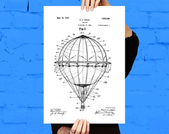 Hot Air Balloon Poster, Hot Air Balloon Print, Hot Air Balloon Patent, Hot Air Balloon Art, Hot Air Balloon Blueprint
