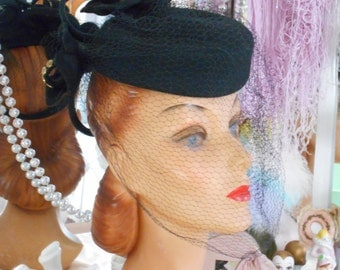 Classic 1940's Black Felt Tilt Hat with Large Matching Flowers, Metal Studs & Netting