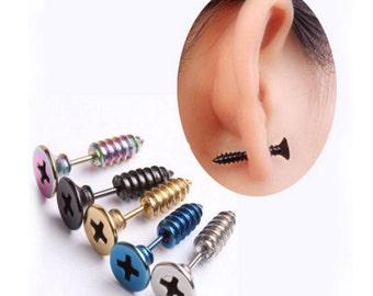 Screw Stud Ear Rings Blue Only