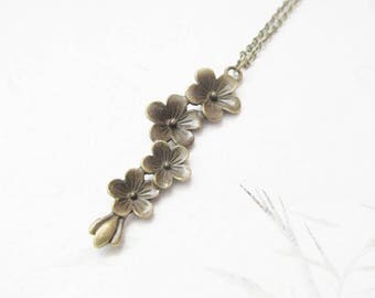 Blossom necklace, flower necklace, bronze necklace