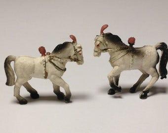 Vintage Miniature Plastic Red Plumed Circus Horses