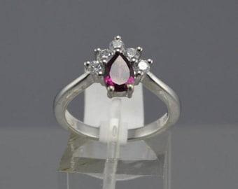Rhodolite Garnet Sterling Silver Ring, Rhodium Plated, Natural Pear Shape Gemstone, January Birthstone Ring