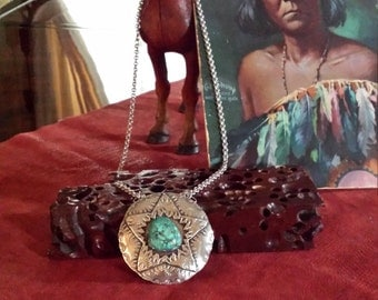 Sterling silver native American turquoise pendant with chain