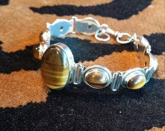 Sterling silver tiger eye bracelet
