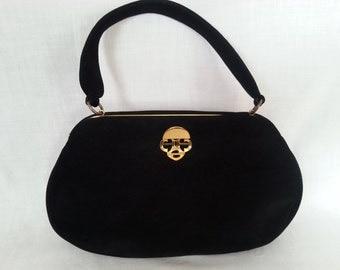 Vintage Black Suede Purse Bienen- Davis Bergdorf Goodman Classic Elegant High Quality Handbag Coin Purse 1960's