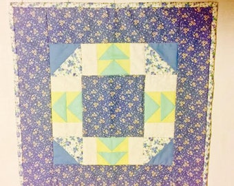 Quilted Blue Floral Table Topper